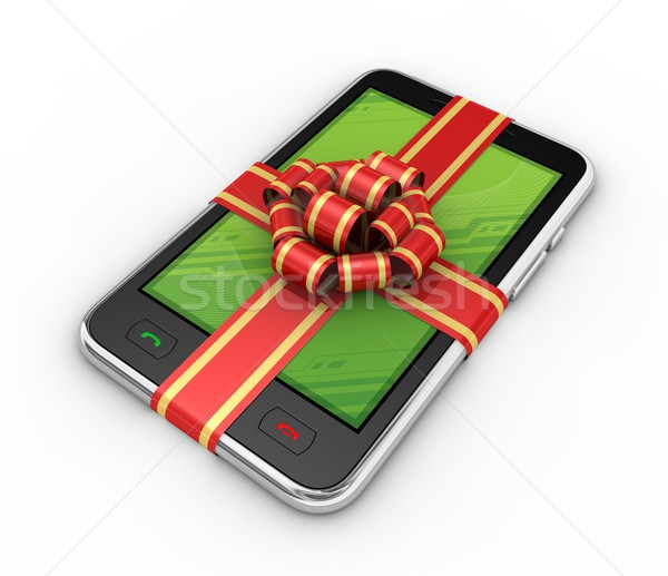 Phone in gift on white background. Stock photo © rzymu