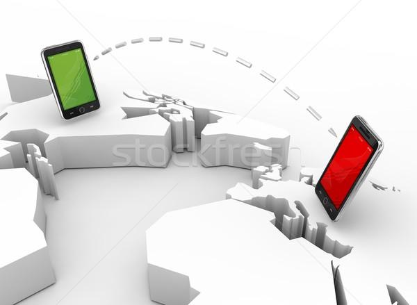 Mobiele communicatie 3d render business telefoon kaart Stockfoto © rzymu