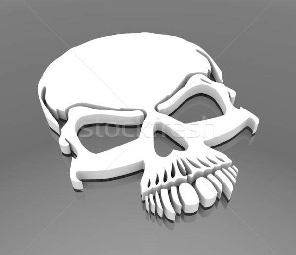 頭蓋骨 3dのレンダリング にログイン 岩 死 黒 ストックフォト © rzymu