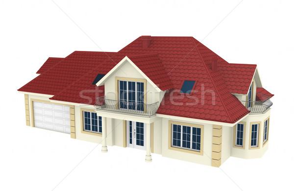 3D huis geïsoleerd witte gedetailleerd 3d render Stockfoto © rzymu