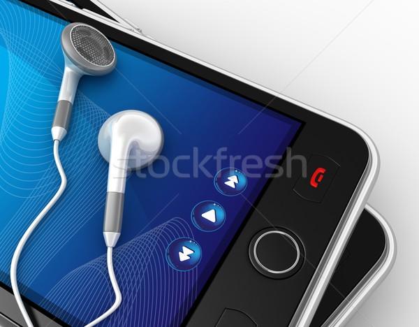 Zwarte smartphones 3d render business computer Stockfoto © rzymu