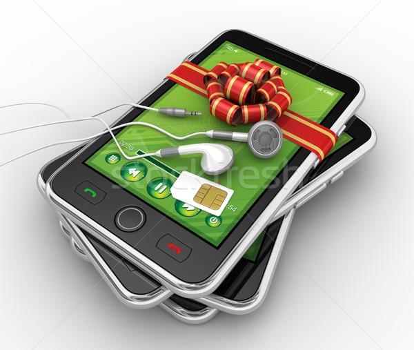 Zwarte smartphone gedetailleerd 3d render business telefoon Stockfoto © rzymu