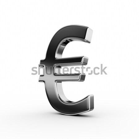 Euro teken 3D geld zwarte vloer Stockfoto © rzymu