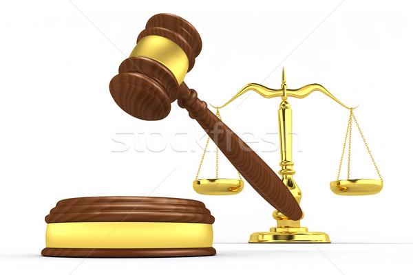 Martelletto rendering 3d sfondo giustizia avvocato bianco Foto d'archivio © rzymu