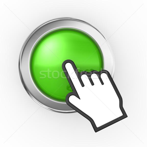 Hand icon groene knop ontwerp teken Stockfoto © rzymu