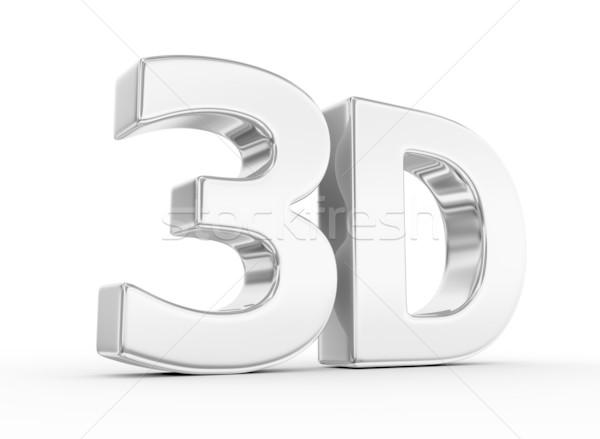 Metalen 3D woord achtergrond teken Stockfoto © rzymu