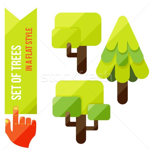 Conjunto árvores eps 10 madeira arte Foto stock © sabelskaya