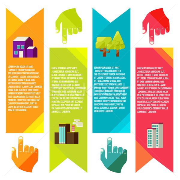 Banners stad info graphics vector stijl Stockfoto © sabelskaya