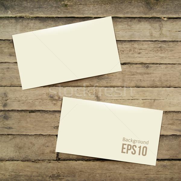 şablon beyaz kartvizit ahşap masa eps 10 Stok fotoğraf © sabelskaya