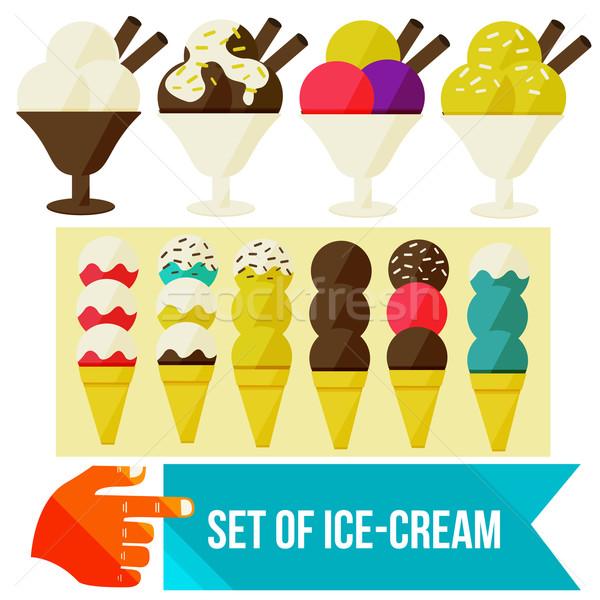 Dondurma ayarlamak gıda çikolata buz alışveriş Stok fotoğraf © sabelskaya