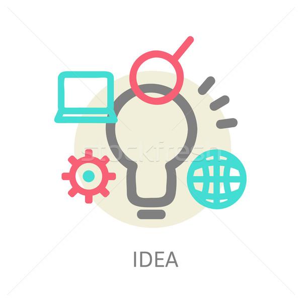 Creatieve netwerk lamp lijn ontwerp Blauw Stockfoto © sabelskaya