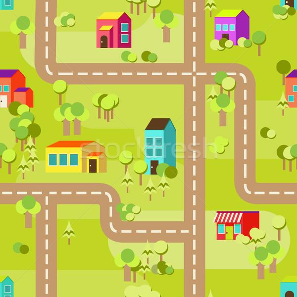 Stad patroon naadloos kleurrijk huizen Stockfoto © sabelskaya