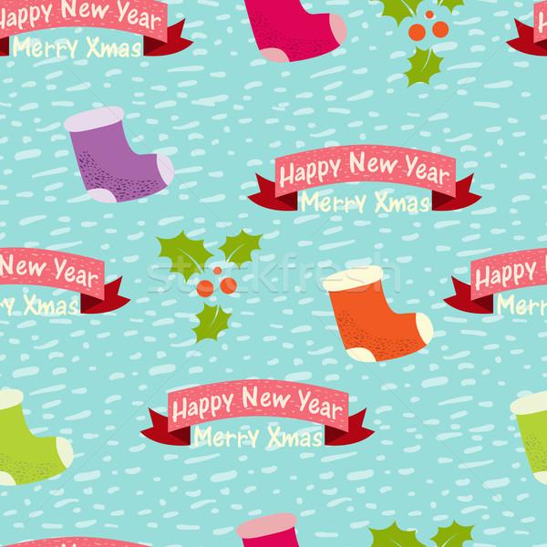 Christmas nieuwjaar naadloos hand abstract achtergrond Stockfoto © sabelskaya