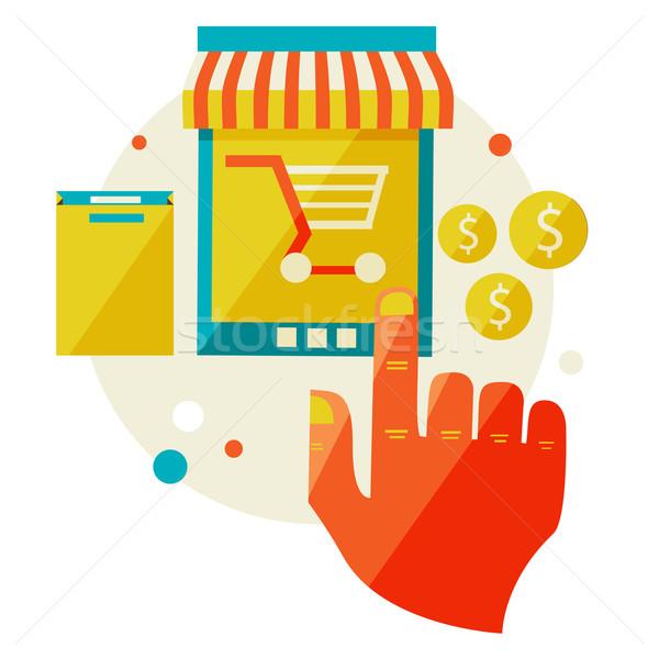 Online winkelen verkoop laptop ontwerp moderne Stockfoto © sabelskaya