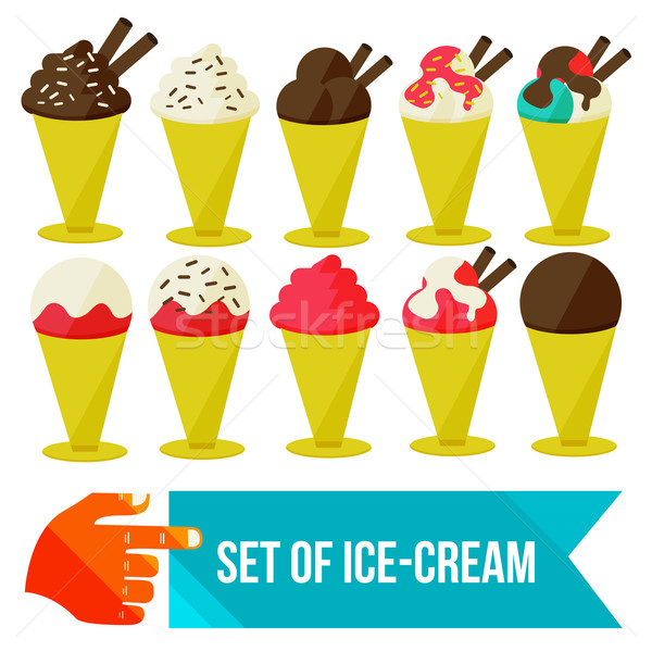 Stock photo: set of ice cream in a bowl