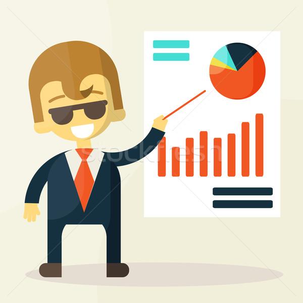 Empresario mirando gráfico hombre hombres mercado Foto stock © sabelskaya
