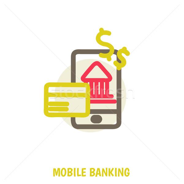 Vector gekleurd illustratie mobiele bancaire online Stockfoto © sabelskaya