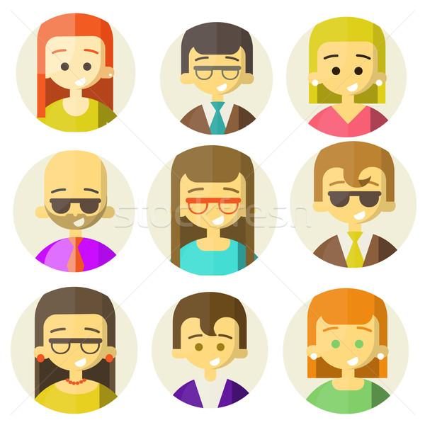 Colorido personas caras círculo de moda Foto stock © sabelskaya