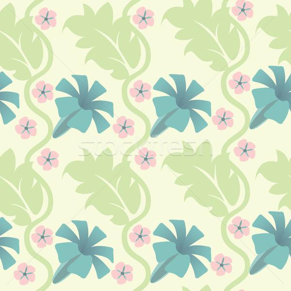 Naadloos abstract patroon bloemen blad Blauw Stockfoto © sabelskaya