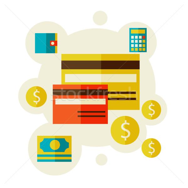 Banco cartões ilustração estilo crédito bolsa Foto stock © sabelskaya