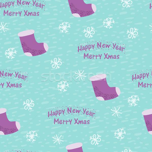 Christmas nieuwjaar naadloos sok hand abstract Stockfoto © sabelskaya
