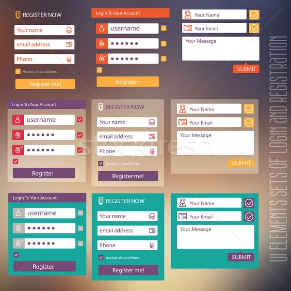 user interface elements sets of login and registration form flat Stock photo © sabelskaya