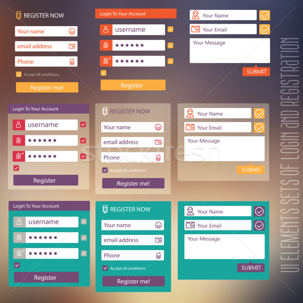 Gebruiker interface communie inloggen registratie vorm Stockfoto © sabelskaya
