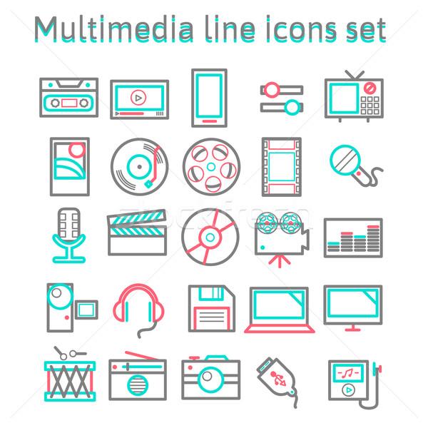 Stock fotó: Multimédia · vonal · ikon · szett · vektor · illustrator · eps