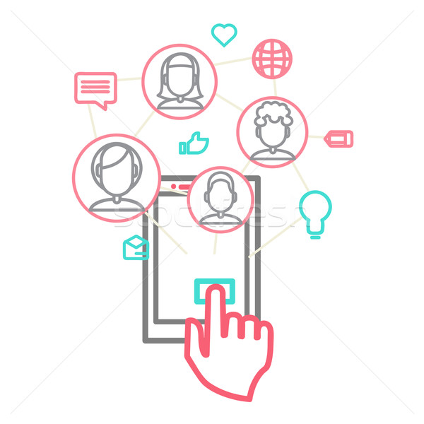 Social media communicatie globale computer netwerken eps Stockfoto © sabelskaya