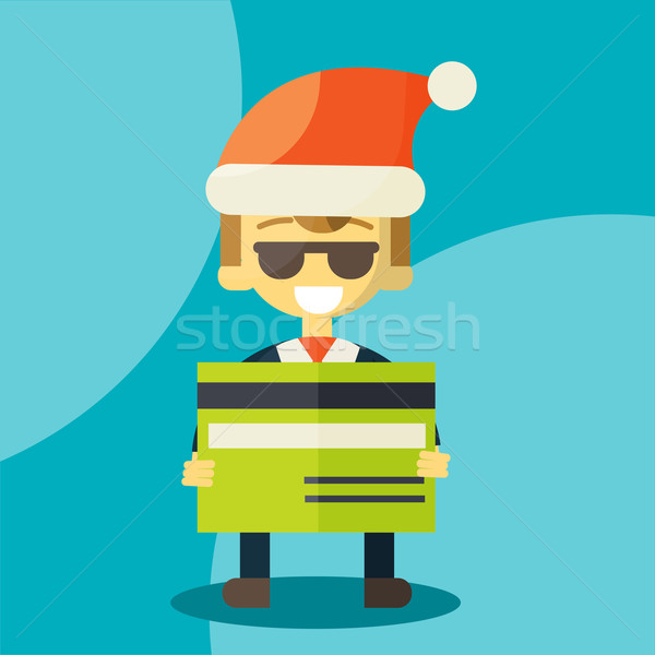 Goede creditcard gelukkig zakenman kerstman hoed Stockfoto © sabelskaya