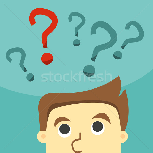 Business man in indecision on a question mark Stock photo © sabelskaya