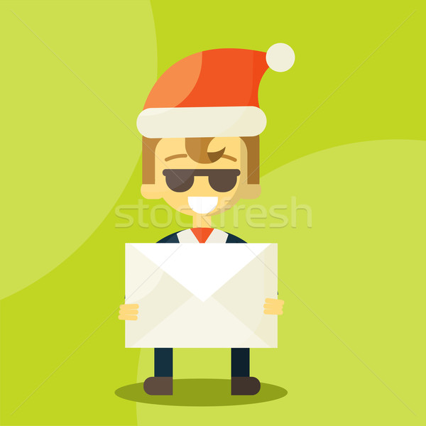 Happy businessman in Santa Claus hat. Letter with good news. Christmas Letters Stock photo © sabelskaya