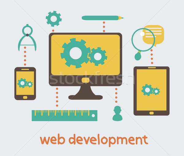 Web gelişme modern örnek web tasarım vektör Stok fotoğraf © sabelskaya