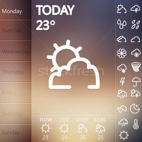 Weather Widget UI set . Stock photo © sabelskaya