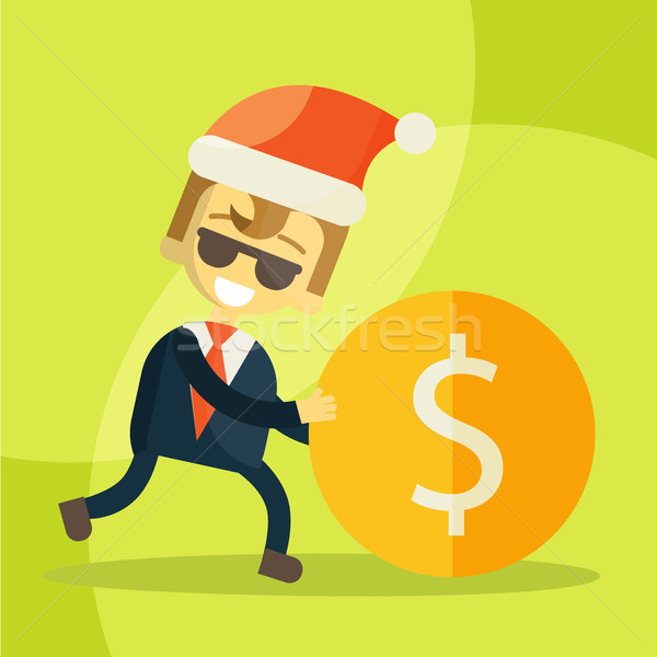 Foto stock: Alegre · empresário · moeda · natal · dinheiro