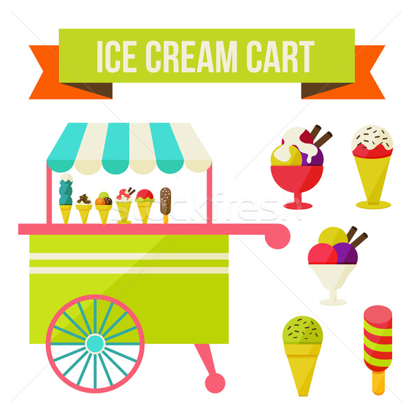 Crème glacée panier illustration isolé blanche homme Photo stock © sabelskaya