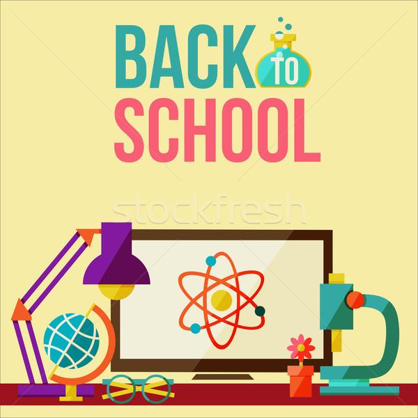 Modello di progettazione internet scuola clock sfondo Foto d'archivio © sabelskaya