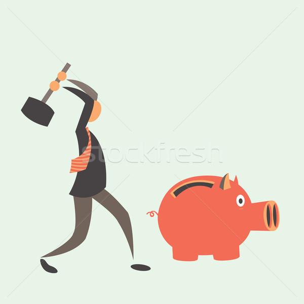 Homem de negócios piggy bank moedas eps 10 Foto stock © sabelskaya