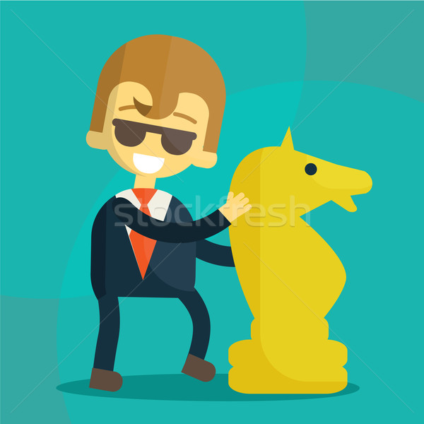 smiling businessman and a great development strategy Stock photo © sabelskaya