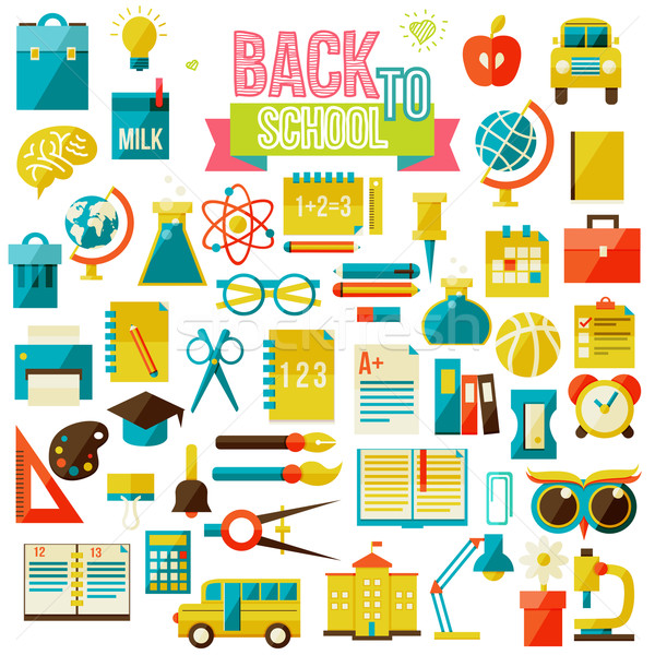Ingesteld school iconen geïsoleerd witte Stockfoto © sabelskaya