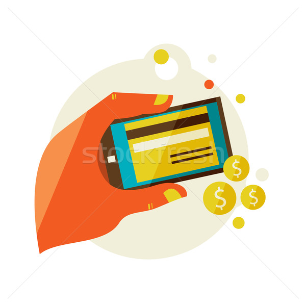 processing of mobile payments Stock photo © sabelskaya