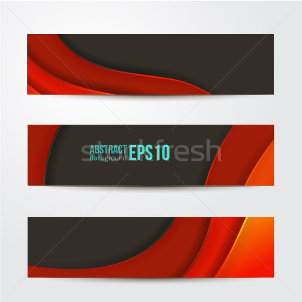 Ingesteld abstract Rood banners drie business Stockfoto © sabelskaya