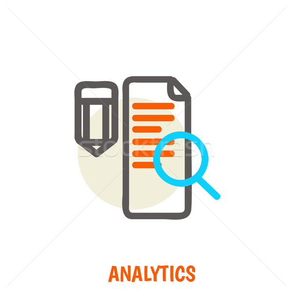 Flat line icons of analytics vector illustration concept. Stock photo © sabelskaya