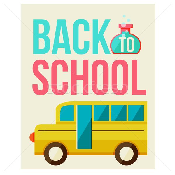 Terug naar school ontwerpsjabloon auto achtergrond kunst onderwijs Stockfoto © sabelskaya