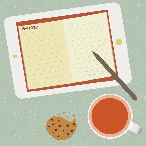 Fincan çay kâğıt yaprak dijital bilgi Stok fotoğraf © sabelskaya