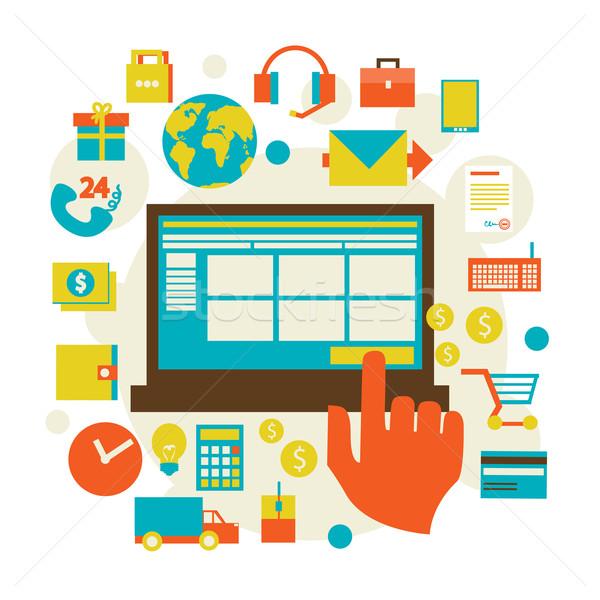 Elektronische commerce winkelen symbool communie Stockfoto © sabelskaya