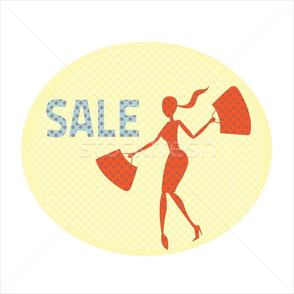 Etiqueta venda primavera compras saco Foto stock © sabelskaya