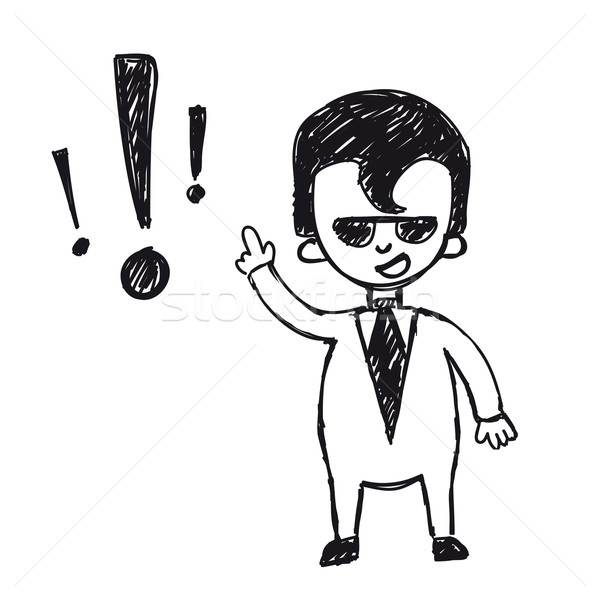 funny cartoon businessman with exclamation mark Stock photo © sabelskaya