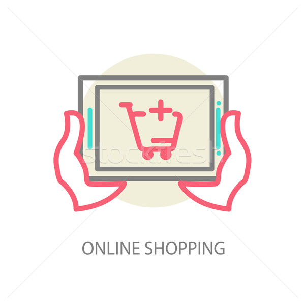 Stock photo: Line vector internet shopping concept - browser window