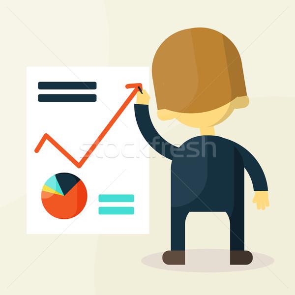 Empresário olhando gráfico homem homens mercado Foto stock © sabelskaya